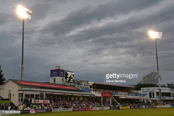 General view of the Spen Cama Pavilion during the Vitality Blast match between Sussex Sharks and Surrey at The 1st Central County Ground on July 26,...