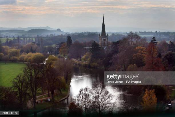 General view of the spire of Holy Trinity Church, Shakespeare's burial place, from the tower of the newly rebuilt Royal Shakespare Theatre in...