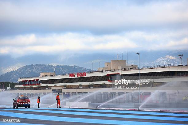 A general view of the sprinklers during wet weather tyre testing at Circuit Paul Ricard on January 26 2016 in Le Castellet France