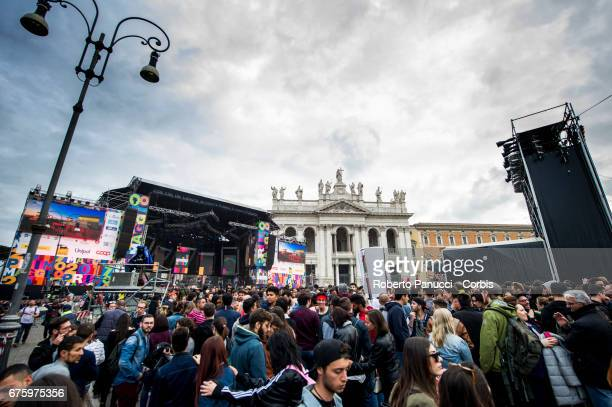A general view of the square of 1st Of May Concert on May 01 2017 in Rome Italy