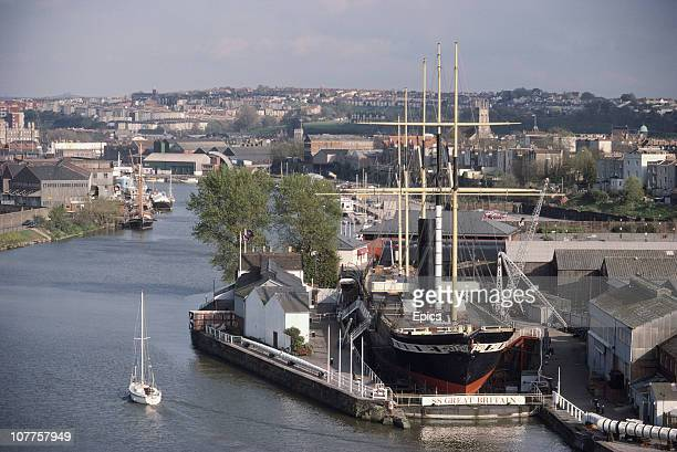 General view of the SS Great Britain a passenger steamship designed by Isambard Kingdom Brunel in dry dock in Bristol, England April 1985.