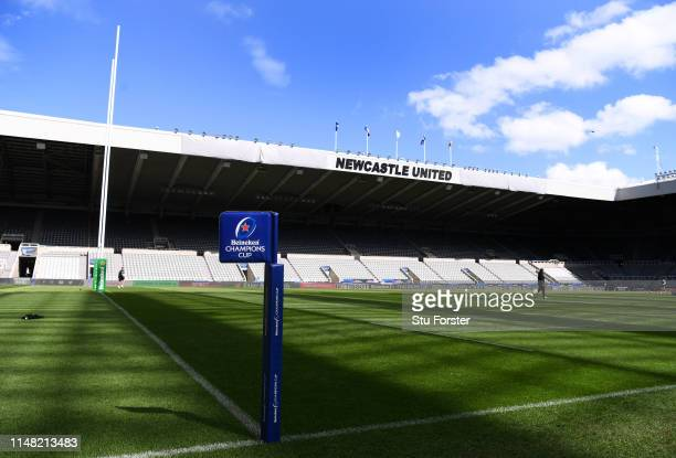 A general view of the St James' Park without the Sports Direct signage during Saracens Captain's run ahead of tomorrow's Champions Cup Final at St...