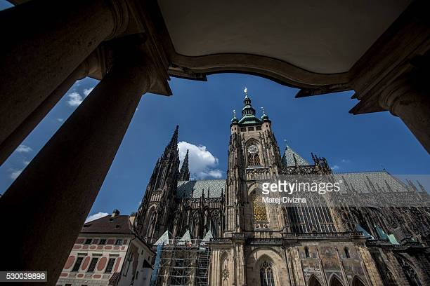 A general view of the St Vitus Cathedral on May 9 2016 in Prague Czech Republic Ruler Charles IV began the construction of the St Vitus Cathedral in...