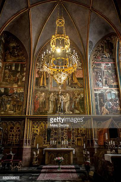 A general view of the St Wenceslas Chapel at the St Vitus Cathedral on May 9 2016 in Prague Czech Republic Ruler Charles IV began the construction of...