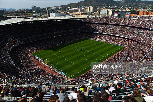 A general view of the stadim during the La Liga match between FC Barcelona and Rayo Vallecano de Madrid at Camp Nou on March 8 2015 in Barcelona Spain