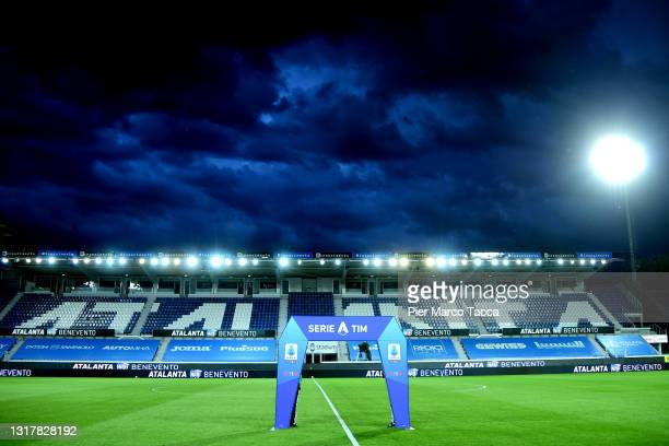 General view of the stadio during the Serie A match between Atalanta BC and Benevento Calcio at Gewiss Stadium on May 12, 2021 in Bergamo, Italy....