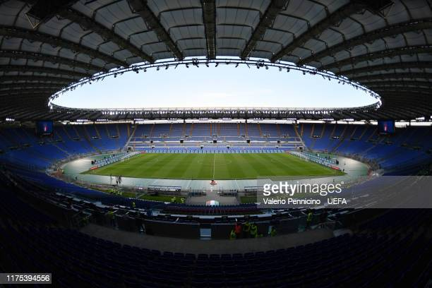 General view of the Stadio Olimpico ahead the UEFA Euro 2020 qualifier between Italy and Greece on October 12, 2019 in Rome, Italy.