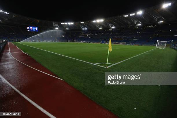 A general view of the Stadio Olimpico before the Group G match of the UEFA Champions League between AS Roma and Viktoria Plzen at Stadio Olimpico on...