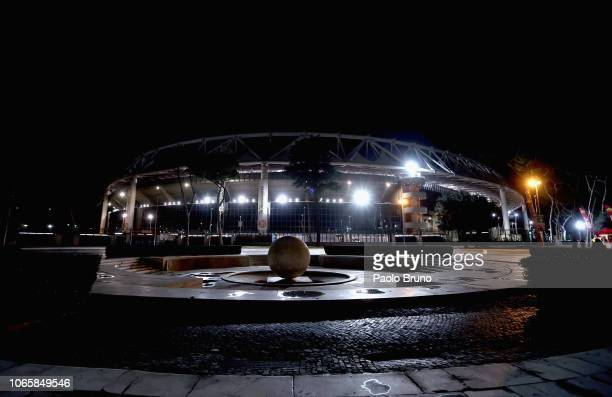 A general view of the Stadio Olimpico before the group G match of the UEFA Champions League between AS Roma and Real Madrid at Stadio Olimpico on...