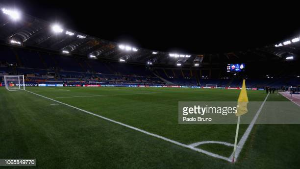 General view of the Stadio Olimpico before the group G match of the UEFA Champions League between AS Roma and Real Madrid at Stadio Olimpico on...