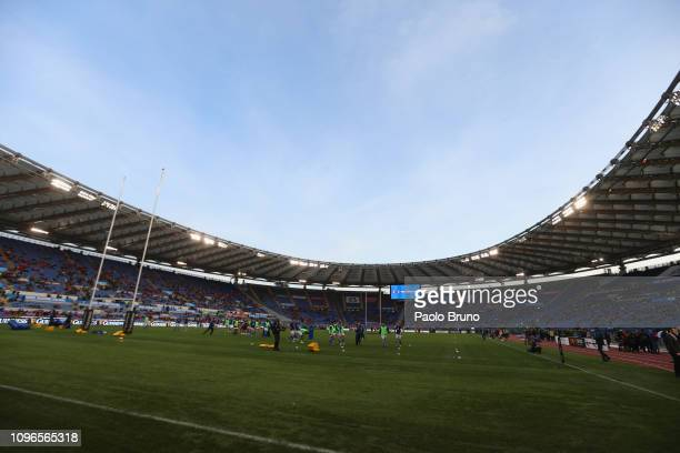 A general view of the Stadio Olimpico before the Guinness Six Nations match between Italy and Wales at Stadio Olimpico on February 9 2019 in Rome...