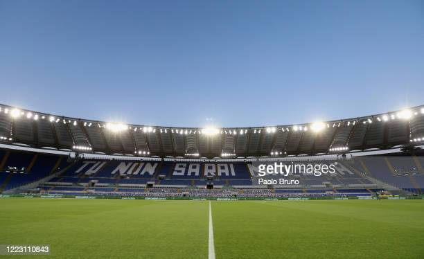 General view of the Stadio Olimpico before the Serie A match between SS Lazio and ACF Fiorentina at Stadio Olimpico on June 27, 2020 in Rome, Italy.