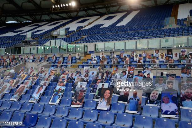 A general view of the Stadio Olimpico before the Serie A match between SS Lazio and ACF Fiorentina at Stadio Olimpico on June 27 2020 in Rome Italy