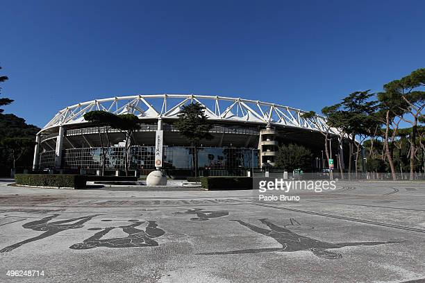 A general view of the Stadio Olimpico before the Serie A match between AS Roma and SS Lazio at Stadio Olimpico on November 8 2015 in Rome Italy