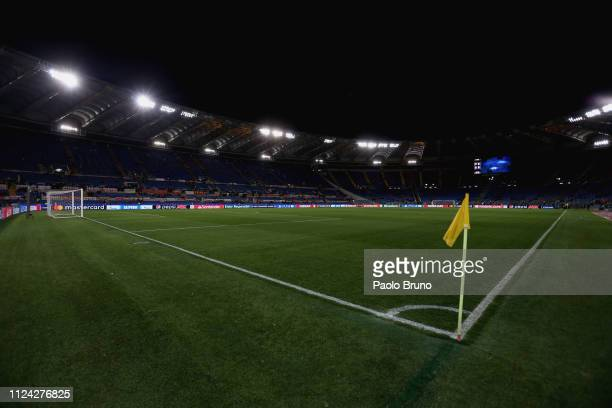 A general view of the Stadio Olimpico before the UEFA Champions League Round of 16 First Leg match between AS Roma and FC Porto at Stadio Olimpico on...