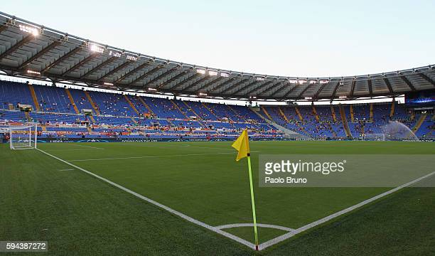 A general view of the Stadio Olimpico before the UEFA Champions League qualifying playoff round second leg match between AS Roma and FC Porto at...