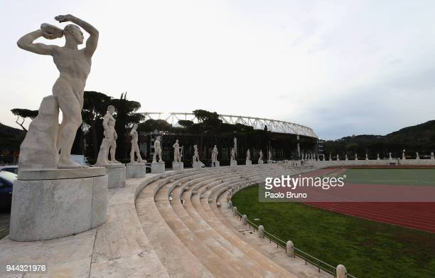 A general view of the Stadio Olimpico before the UEFA Champions League quarter final second leg between AS Roma and FC Barcelona at Stadio Olimpico...