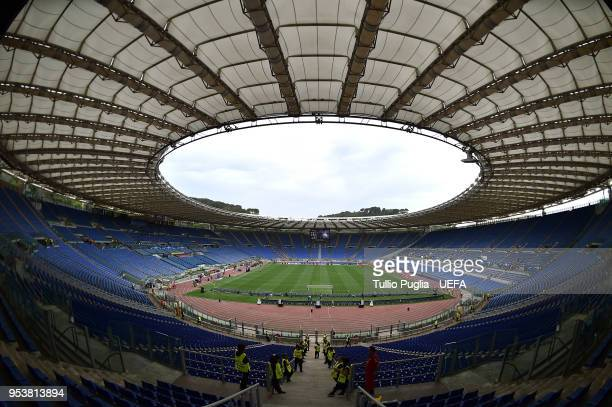 A general view of the Stadio Olimpico before the UEFA Champions League Semi Final Second Leg match between AS Roma and Liverpool at Stadio Olimpico...