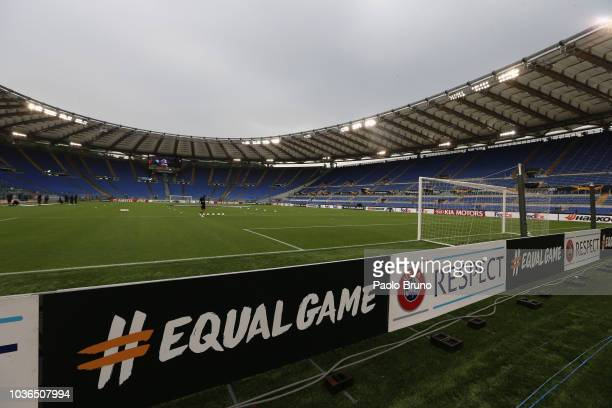 A general view of the Stadio Olimpico before the UEFA Europa League Group H match between SS Lazio and Apollon Limassol at Stadio Olimpico on...
