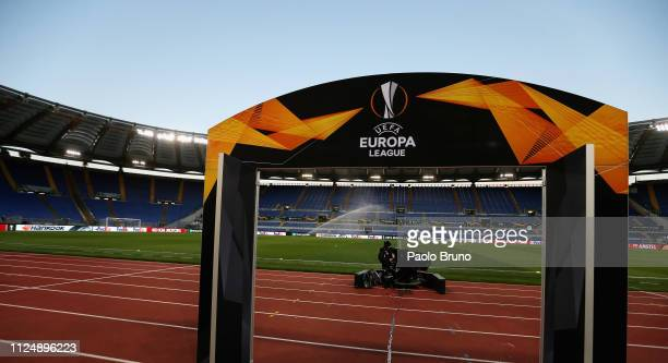 General view of the Stadio Olimpico before the UEFA Europa League Round of 32 first leg match between SS Lazio and Sevilla at Stadio Olimpico on...