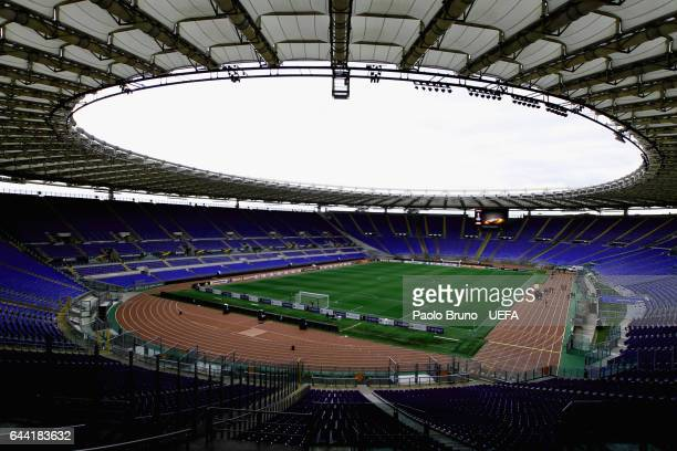 A general view of the Stadio Olimpico before the UEFA Europa League Round of 32 second leg match between AS Roma and FC Villarreal at Stadio Olimpico...