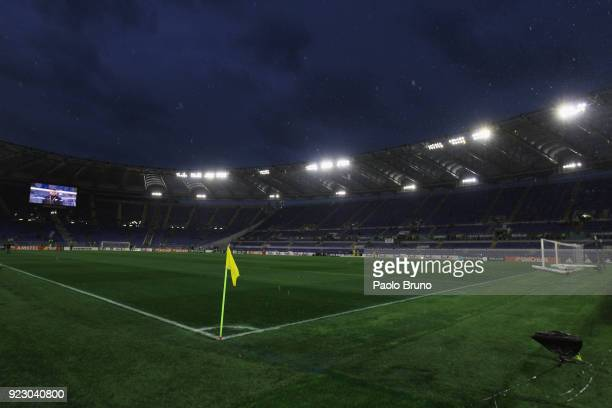 A general view of the Stadio Olimpico before the UEFA Europa League Round of 32 match between Lazio and Steaua Bucharest at the Stadio Olimpico on...