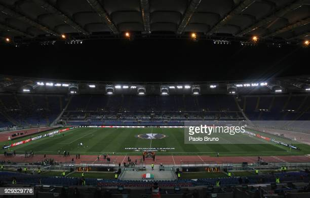 A general view of the Stadio Olimpico before the UEFA Europa League Round of 16 match between Lazio and Dynamo Kiev at the Stadio Olimpico on March 8...