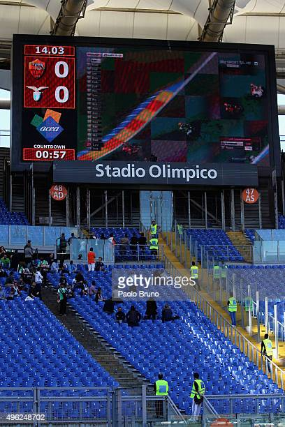 A general view of the Stadio Olimpico Curva Nord before the Serie A match between AS Roma and SS Lazio at Stadio Olimpico on November 8 2015 in Rome...