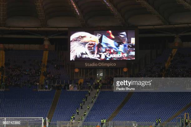 A general view of the Stadio Olimpico 'Curva Nord' empty as SS Lazio fans protest against VAR 'video assistants referee' during the serie A match...