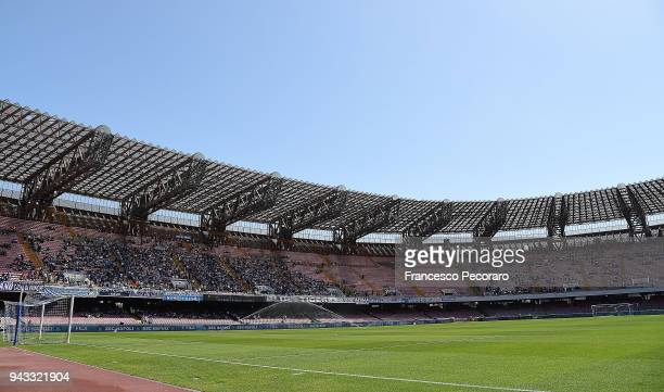 A general view of the Stadio San Paolo before the serie A match between SSC Napoli and AC Chievo Verona at Stadio San Paolo on April 8 2018 in Naples...
