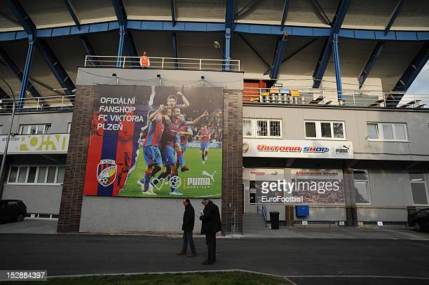 General view of the Stadion mesta Plzne, home of FC Viktoria Plzen taken during the UEFA Europa League group stage match between FC Viktoria Plzen...