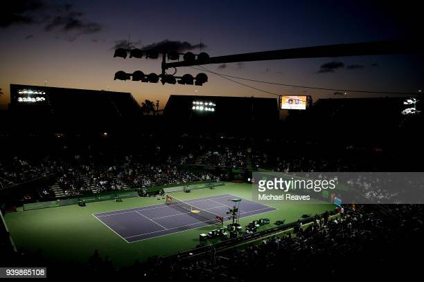 A general view of the stadium after an electrical issue on a lighting structure caused matches to be delayed on Day 11 of the Miami Open Presented by...