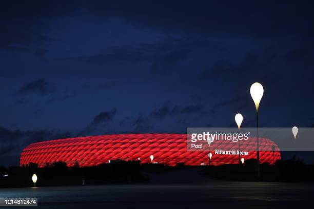 General view of the stadium after the Bundesliga match between FC Bayern Muenchen and Eintracht Frankfurt at Allianz Arena on May 23, 2020 in Munich,...