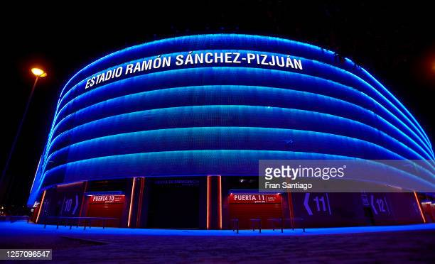 General view of the stadium after the Liga match between Sevilla FC and Valencia CF at Estadio Ramon Sanchez Pizjuan on July 19, 2020 in Seville,...