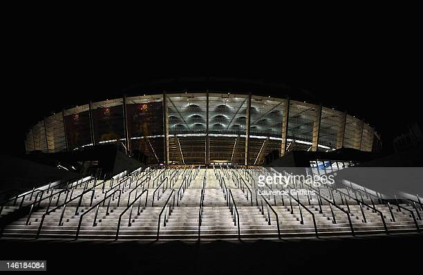 General view of the Stadium after the UEFA EURO 2012 group D match between Ukraine and Sweden at The Olympic Stadium on June 11, 2012 in Kiev,...