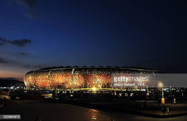 General view of the stadium ahead of the 2010 FIFA World Cup South Africa Quarter Final match between Uruguay and Ghana at the Soccer City stadium on...
