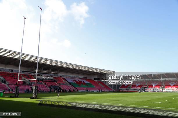General view of the stadium ahead of the 2020 Six Nations Championship rugby union match between Wales and Scotland at the Parc y Scarlets stadium in...
