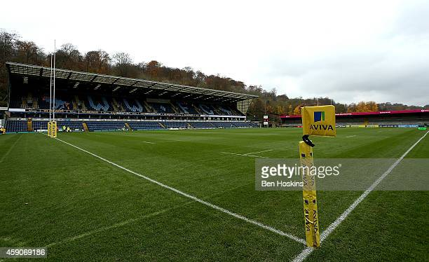 General view of the stadium ahead of the Aviva Premiership match between Wasps and London Welsh at Adams Park on November 16, 2014 in High Wycombe,...