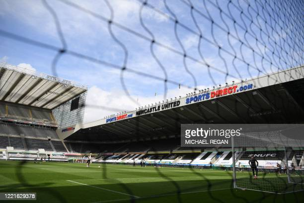 General view of the stadium ahead of the English Premier League football match between Newcastle United and Sheffield United at St James' Park in...