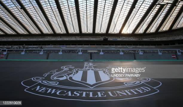 General view of the stadium ahead of the English Premier League football match between Newcastle United and Aston Villa at St James' Park in...