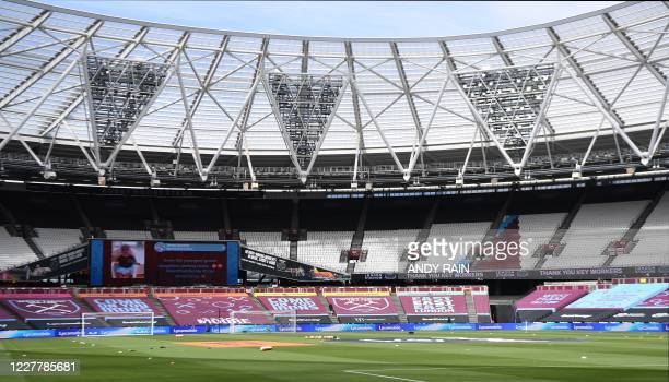 General view of the stadium ahead of the English Premier League football match between West Ham United and Aston Villa at The London Stadium, in east...