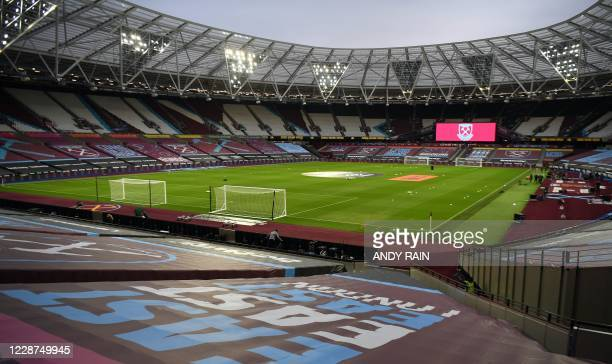 General view of the stadium ahead of the English Premier League football match between West Ham United and Wolverhampton Wanderers at The London...