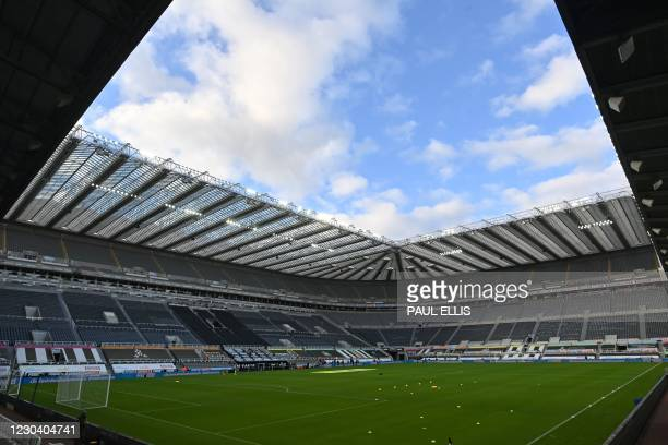General view of the stadium ahead of the English Premier League football match between Newcastle United and Leicester City at St James' Park in...
