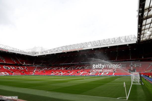 General view of the stadium ahead of the English Premier League football match between Manchester United and Leeds United at Old Trafford in...