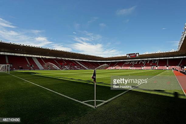 General view of the stadium ahead of the pre season friendly match between Southampton and Espanyol at St Mary's Stadium on August 2, 2015 in...