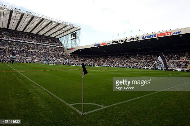 A general view of the stadium ahead of the Premier League football match between Newcastle United and Leicester City at St James' Park on October 18...