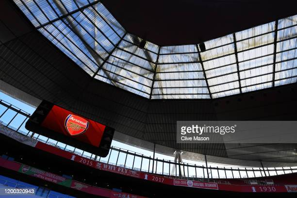 General view of the stadium ahead of the Premier League match between Arsenal FC and Sheffield United at Emirates Stadium on January 18, 2020 in...