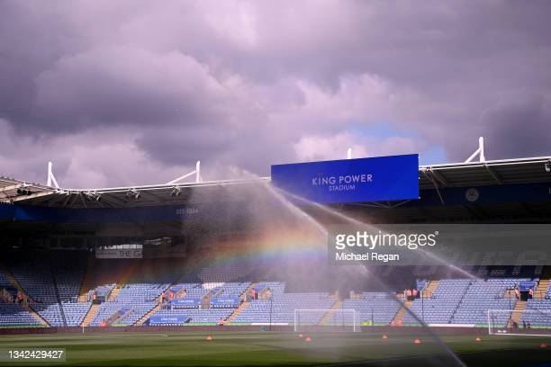 General view of the stadium ahead of the Premier League match between Leicester City and Burnley at The King Power Stadium on September 25, 2021 in...