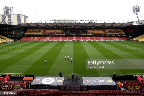 General view of the stadium ahead of the Premier League match between Watford and Newcastle United at Vicarage Road on September 25, 2021 in Watford,...