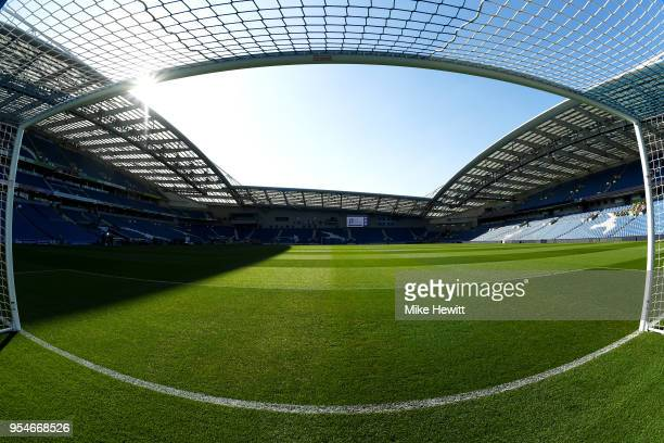 A general view of the stadium ahead of the Premier League match between Brighton and Hove Albion and Manchester United at Amex Stadium on May 4 2018...